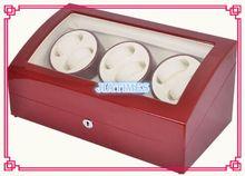 6 + 7 Rojo Vino Enrollador de Reloj De Madera caja de la Caja de Fibra de Carbono de LA PU