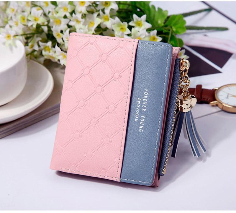 Leather Small Wallet Women Mini Women Wallets Purses Female Short Coin Zipper Purse Holder Tassel Zipper Button Bag (17)