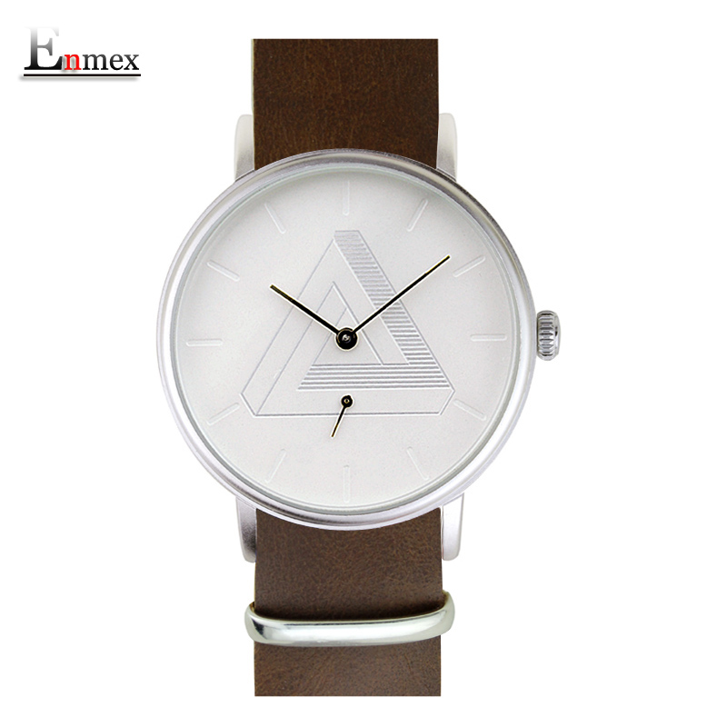 Prix pour 2017 enmex creative design montre-bracelet nordique conception séparée seconde main 3d échelle simple toile de mode mens montres à quartz