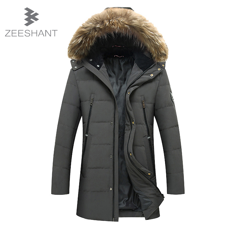 ZEESHANT New Men Padded Parka Winter Polyester Coat Thick Parkas With Raccoon Fur Collar Fashion Coat Mens Windbreaker M-XXXL tiger force 2017 new collection men padded parka winter coat mens fashion jacket long thick parkas artificial fur free shipping