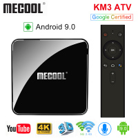 MECOOL KM3 ATV Androidtv 9.0 Google Certified Android 9.0 TV Box 4GB 64GB Amlogic S905X2 4K 2.4G 5G Dual Wifi BT4.0 Set Top Box