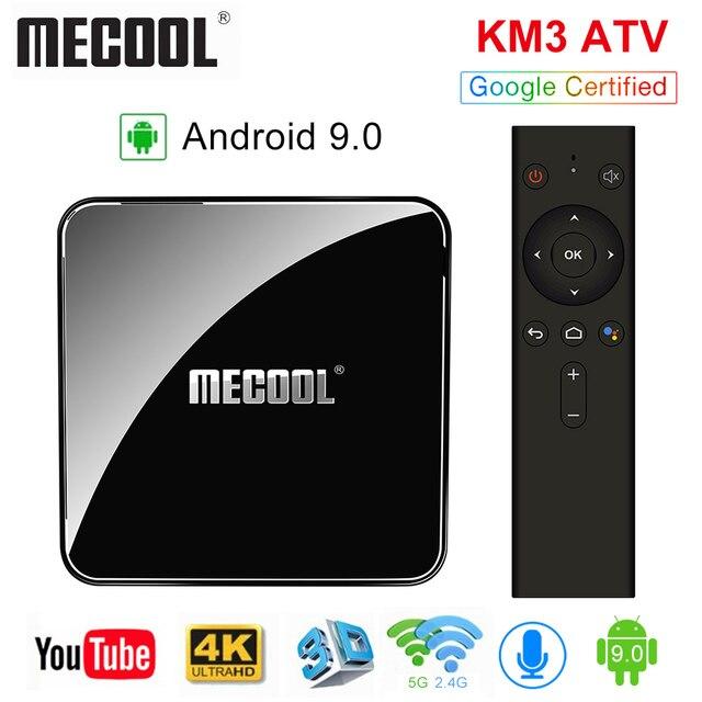MECOOL KM3 טרקטורונים Androidtv 9.0 Google מוסמך אנדרואיד 9.0 טלוויזיה תיבת 4 GB 64 GB Amlogic S905X2 4 K 2.4G 5G הכפול Wifi BT4.0 סט Top Box