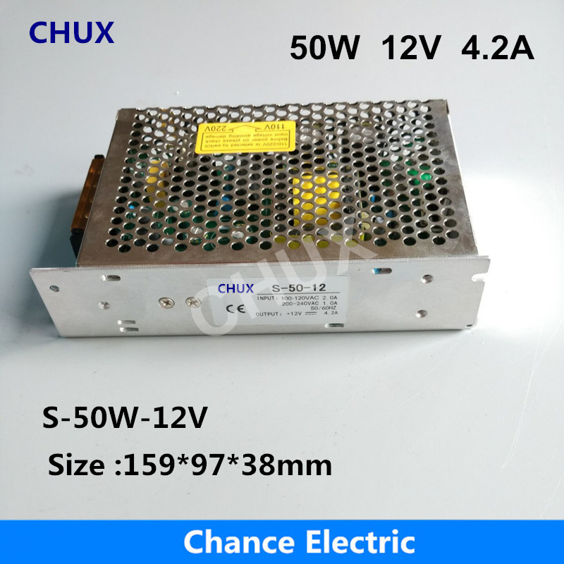 DC Switching Power Supply 12V LED ac 110v 220V Input CE ROHS certificate (S-50W-12V) Single Group 4.2A For Led Strip 50W 1200w 48v adjustable 220v input single output switching power supply for led strip light ac to dc