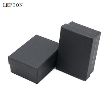 High Quality Black Paper Cufflinks Boxes 50 PCS/Lots Lepton Black matte paper Jewelry Boxes Cuff links Carrying Case wholesale