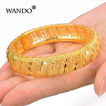 WANDO Baru India Kuningan Dapat Dibuka Bangle Gelang Sekrup Besar Bunga Arab Dubai Afrika Ethiopia Bangle Warna Emas Perhiasan Giftwb154(China)