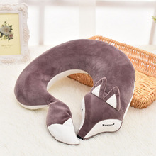 Cute Valentines Day Gift Fox Cotton Plush U Shape Neck Pillow Travel Car Home Nap for Flight Plane