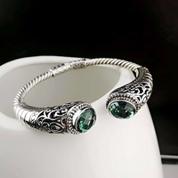 Authentic 925 Sterling Silver Bracelet Women Cuff Bracelets Bangle With Natural Emerald Ethnic Green Crystal Jewelry