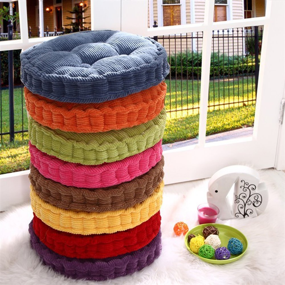 18 x18 round corduroy super soft polyester cotton chair cushion thickened office seat cushions mat pad for home office kitcken