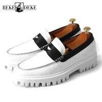 Классические ботильоны на платформе белого цвета Для мужчин в стиле ретро из натуральной кожи кроссовки Повседневное слипоны Мужская обув