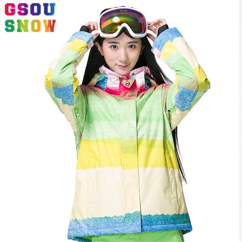 Prix pour Gsou Neige Ski Veste Femmes Étanche Snowboard Veste À Capuche Veste En Plein Air Étanche 10 K Haute Qualité Dames Manteau Pas Cher