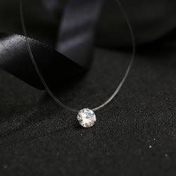 FYM 9 цветов сверкающий циркон ожерелье невидимая прозрачная леска простое ожерелье с подвеской ювелирные изделия для женщин вечерние