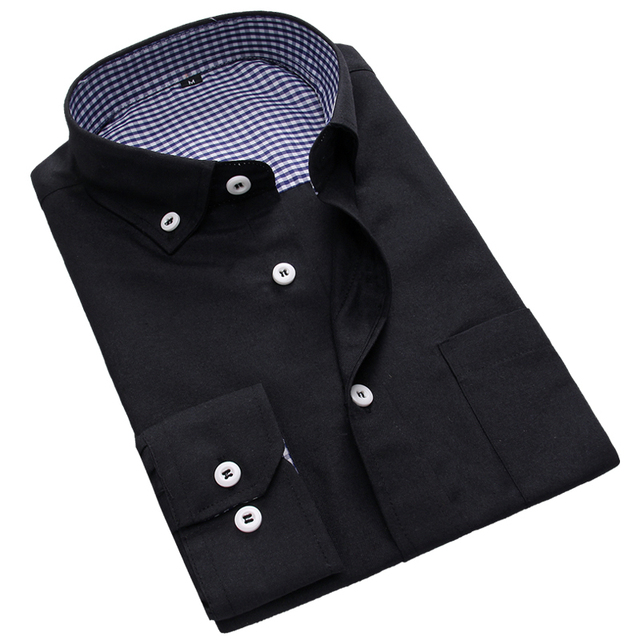 Plus Size 3XL Men's Dress Shirt New 2015 Fall Fashion Solid Casual Shirt Long Sleeve Slim Fit Clothes Button-up Men's Shirts