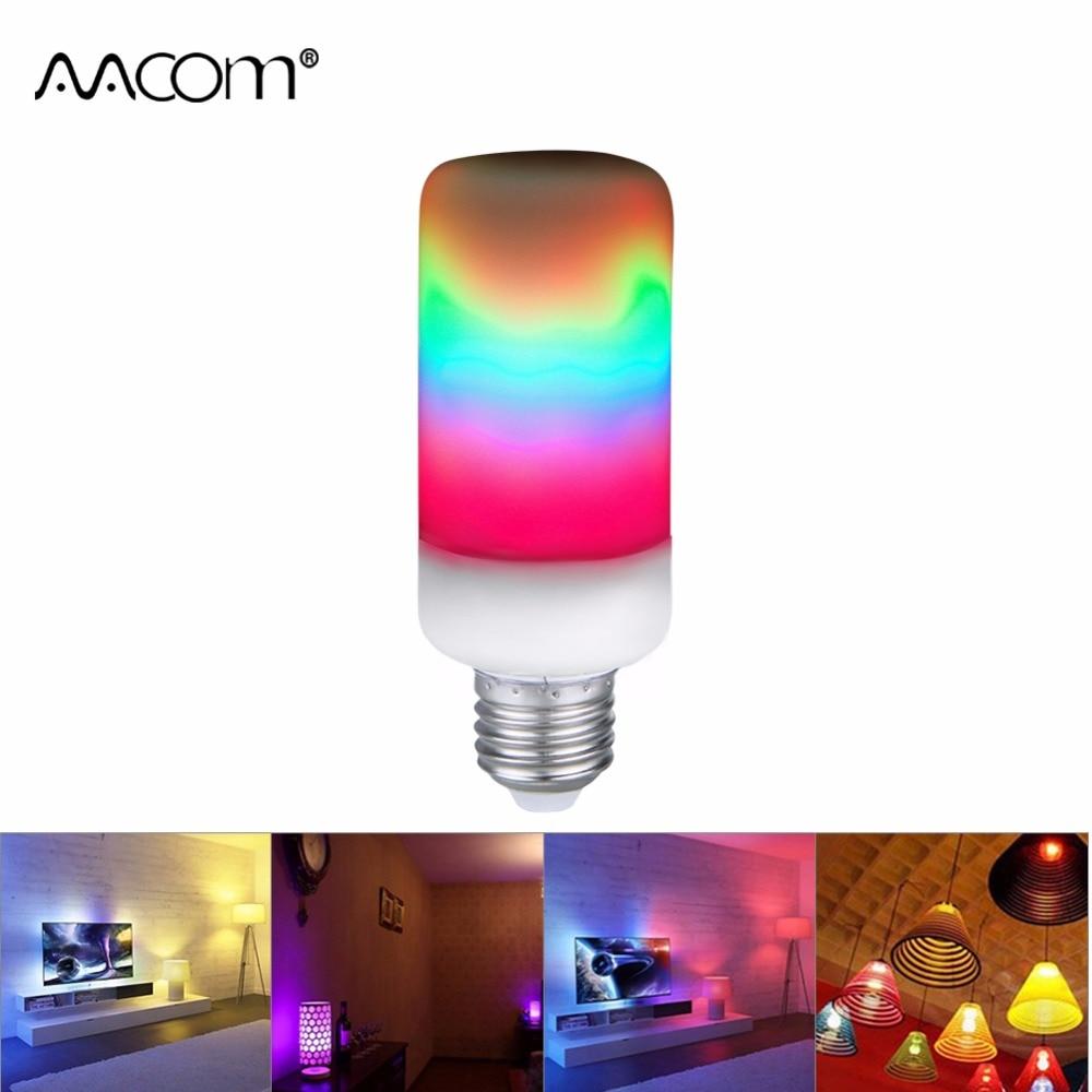 Ampulle GEFÜHRT E27 Flamme Lampe 5 Watt 7 Watt 9 Watt 3 Modi E26 B22 E12 Regenbogen Licht 85-265 V 2835 Bunte Dynamische Flammeneffekt Licht birne