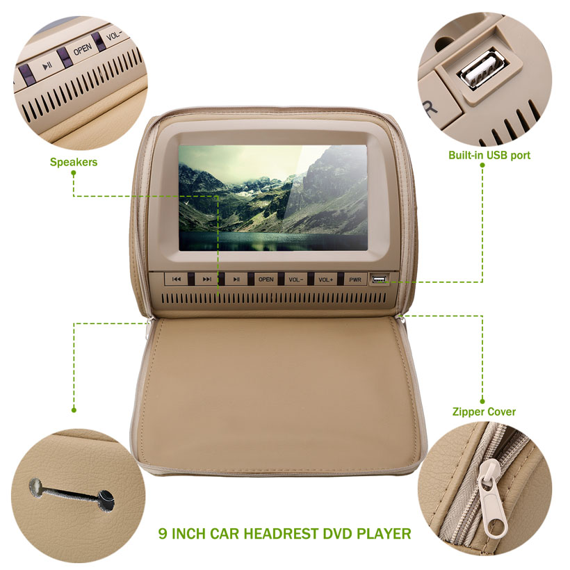 Image 4 - XST 2 uds 9 pulgadas 800*480 pantalla LCD de TFT Pantalla de capacitancia de monitor para reposacabezas de coche reproductor de vídeo DVD apoyo IR/FM/USB/SD/altavoz/Alambre de juegoscreen car headrestheadrest monitorcar headrest monitor -