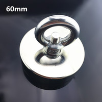 1pcs D60mm 112KG Super Powerful Hole Circular Ring Salvage Magnets Permanent Neodymium Hook Magnet Pulling Mounting