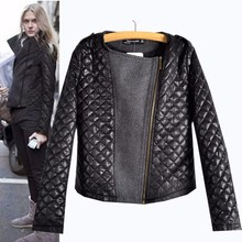 Autumn and winter European style Motorcycle leather jacket fashion women #8217 s wool coat Long Sleeve zip stitching patchwork coat cheap CharmNiceEast COTTON Polyester spandex Short Solid zipper Slim Thin (Summer) Full Casual Broadcloth Pockets Zippers 0 45