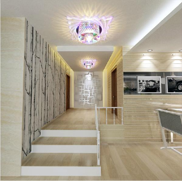 ФОТО 5W Led crystal hallway lights modern corridor lights lamps for luminaire surface mounted led ceiling spot lamp abajur