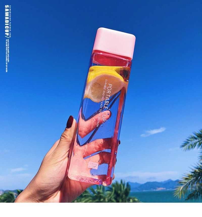 Linda taza para agua cuadrada de frutas y leche de té, 500ml, para botellas de agua, bebida con cuerda, deporte transparente, estilo coreano, resistente al calor