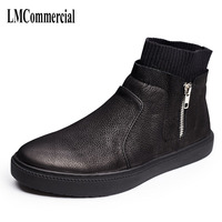 The Wind In Autumn And Winter Fashion High Shoes Shoes Mens Casual Leather Boots Retro Zipper