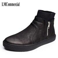 Une chanson hommes bottes noir vintage haute chaussures casual Angleterre 2017 nouvelle personnalité Métrosexuel mâle en cuir bottes chaussures