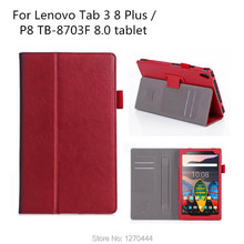 For Lenovo tab 3 8 plus PU Leather Handrest stand case, for Lenovo P8 / TB3-8703F PU leather cover sleeve with card slots(China)