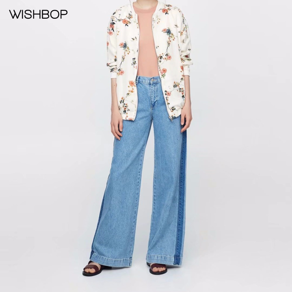 WISHBOP 2017 Autumn Fashion Woman Beige Floral Print Bomber Jacket Zipper Front Sides Pockets Long sleeves