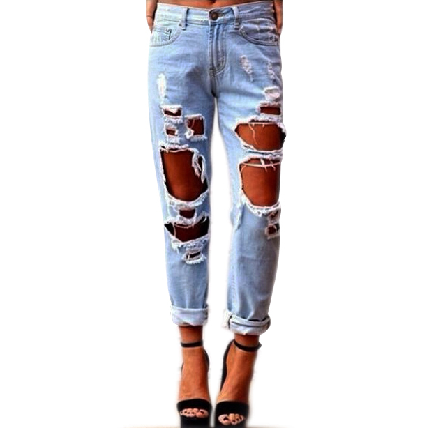 2017 Real New Zipper Fly Waist Jeans American Apparel Sexy Women Destroyed Distressed Slim Denim Pants Boyfriend Jeans Trousers