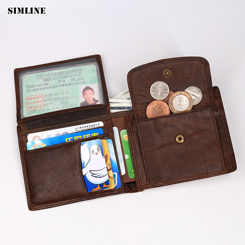 SIMLINE Genuine Leather Men Wallet Men's Vintage Cowhide Short Bifold Wallet Purse Card Holder With Coin Pocket Zipper Bag Male simline genuine leather wallet men men s long vintage cowhide clutch wallets purse card holder zipper coin pocket chain 3d male