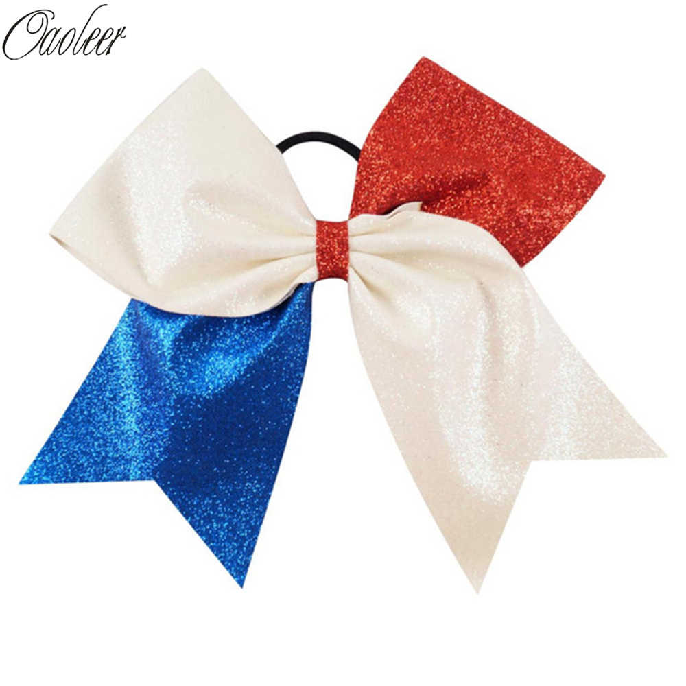"6pcs/lot 7"" Girl White Red Royal Blue Glitter 4th July Cheer Bows Handmade Bling Hair Accessories For Kids"