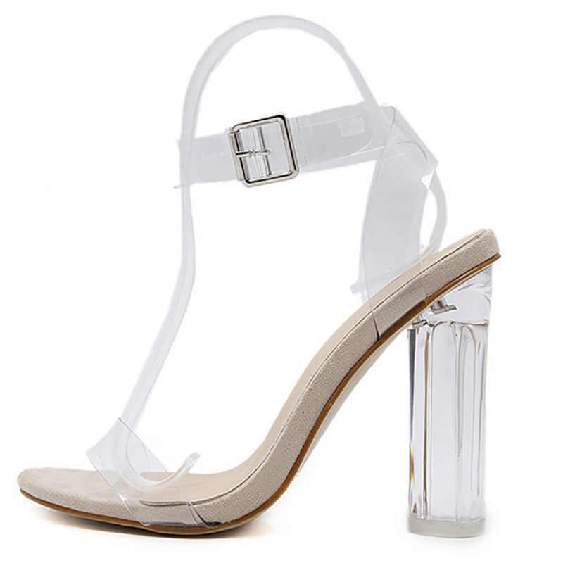 2017 Trong Suốt Giày Cao Gót Nữ Giày Nữ Mùa Hè Bơm Rõ Ràng Chất Liệu Giày Người Phụ Nữ Giày Sandal Cao Gót