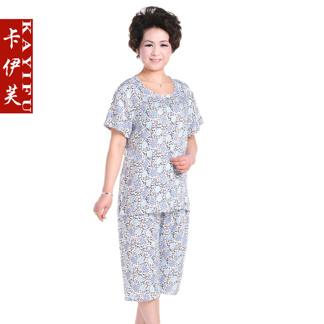 The elderly women's summer short-sleeve T-shirt set quinquagenarian set summer