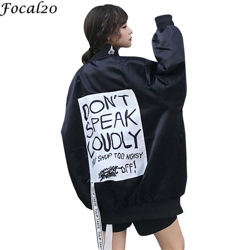 Focal20 Trendy Back Letter Ribbon Women Jacket Pocket Stand Long Sleeve Spring Autumn Female Jackets Casual Loose Women Coats