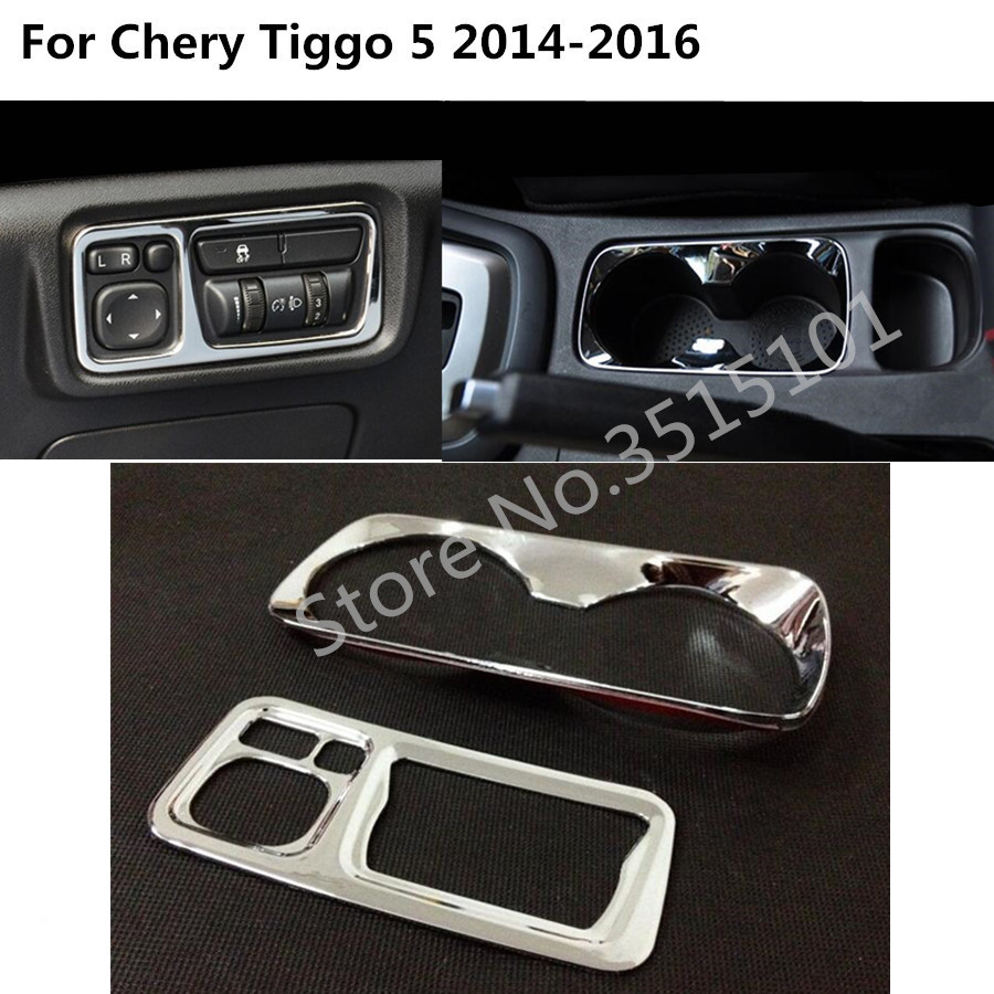 Car Button Head Light Adjustment Switch Stick ABS Chrome Cup Middle Box Armrest 2pcs For Chery Tiggo 5 Tiggo5 2014 2015 2016(China)