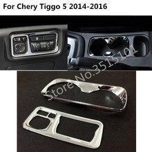 Автомобильная кнопка головы регулировка света Наклейка для выключателя света ABS chrome Кубок средней коробке подлокотник 2 шт. для Chery Tiggo 5 Tiggo5 2014 2015 2016