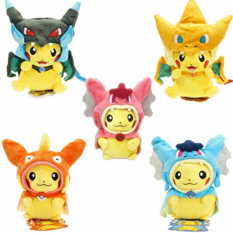 25cm Lucario Magikarp Cos Pikachu Cosplay Mega Charizard gyrados Stuffed Animal Dolls Children Toys kids Baby Plush Dolls fonksiyonlu rende