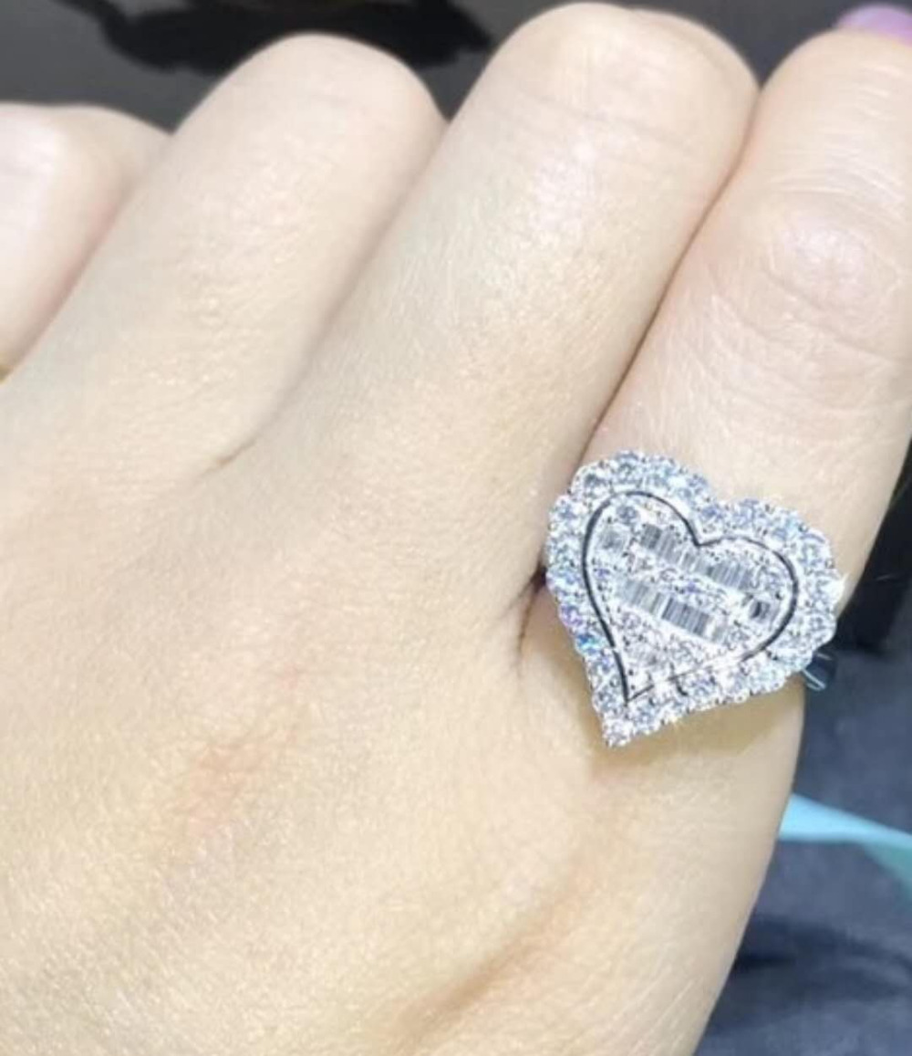 TR258 925 Sterling Silver NSCD simulated Gem engagement rings for women,Heart-shaped Wedding rings clearance sale tr255 vintage jewelry ring wedding band for women 5 carat brilliant cut nscd simulated gem engagement rings