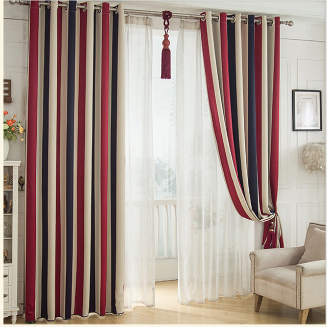 Amerikanischen Stil Gedruckt 3 Farbe Vertikale Streifen Blackout Fenster  Vorhang Wohnzimmer Dekorationen Schlafzimmer Tuch Vorhänge küche
