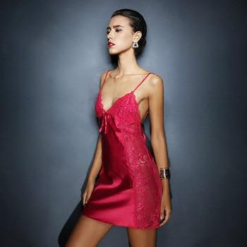 Sexy Nightgown Lingerie Fashion Patchwork Nightdress Women Sheer Scalloped Satin Nightwear Silk Slip Sleepwear Chemises