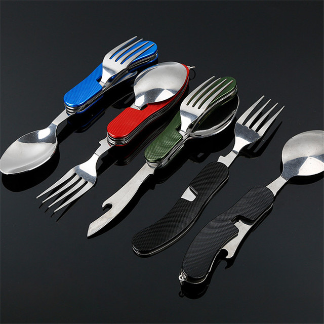 4 in 1 Outdoor Tableware (Fork/Spoon/Knife/Bottle Opener) Camping Stainless Steel Folding Pocket Kits for Hiking Survival Travel