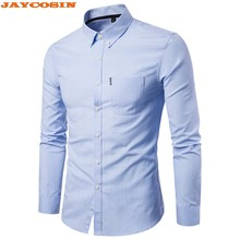 dc02234fdd9 (Ship from US) JAYCOSIN 2019 New Solid Color Slim Fit Shirt Men Long Sleeve  Plus Size Casual Shirts Men Formal Dress Shirt Mens Clothes M-5XL