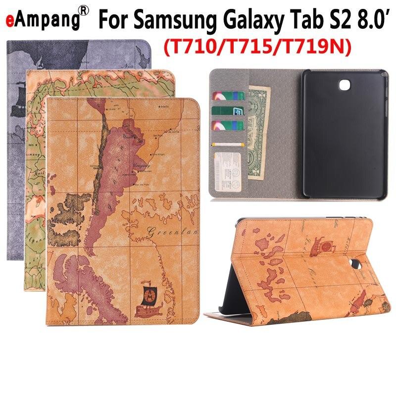 Географические карты кожаный чехол для Samsung Galaxy Tab S2 8.0 T710 T715 T719 Smart Case чехол принципиально Планшеты Slim Flip Стенд слот для карты В виде ракушки