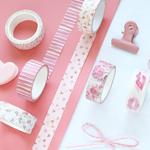 8 pcs Sakura Pink color masking tape set 15mm Flower tapes stickers Kawaii gifts Scrapbooking tools Stationery FJ011