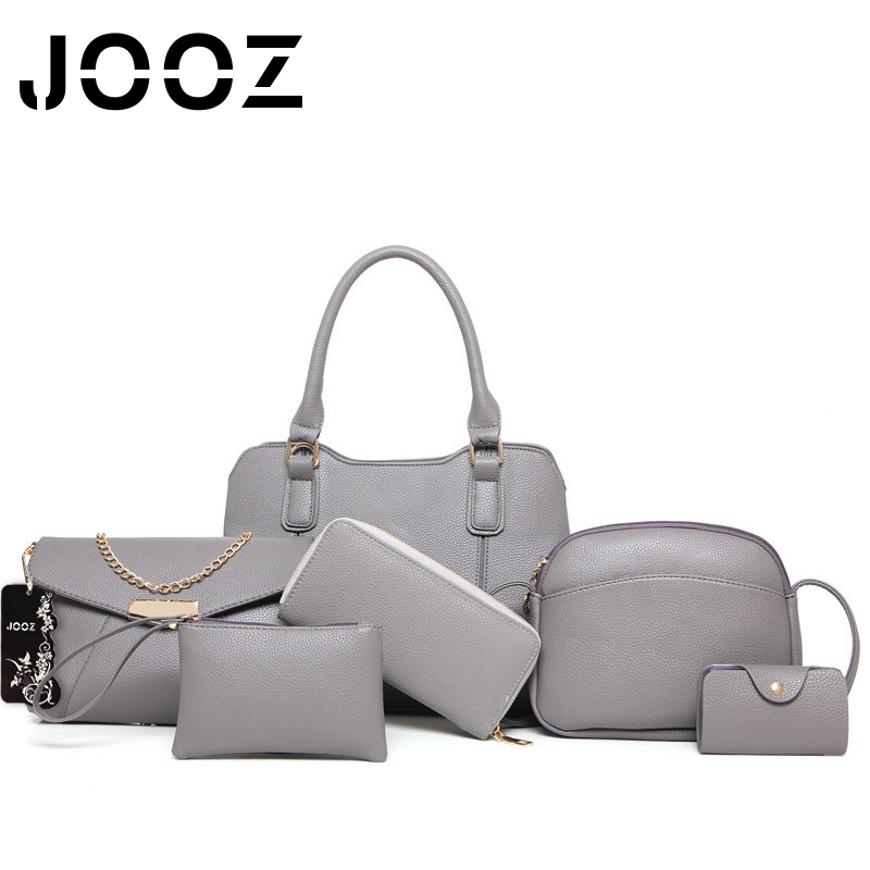 JOOZ Brand Luxury PU Leather 6 Pcs Composite Bags Set Women Shoulder Crossbody Envelope Shell Bags Purse Clutch Wallet Card Bag jooz brand luxury belts solid pu leather women handbag 3 pcs composite bags set female shoulder crossbody bag lady purse clutch