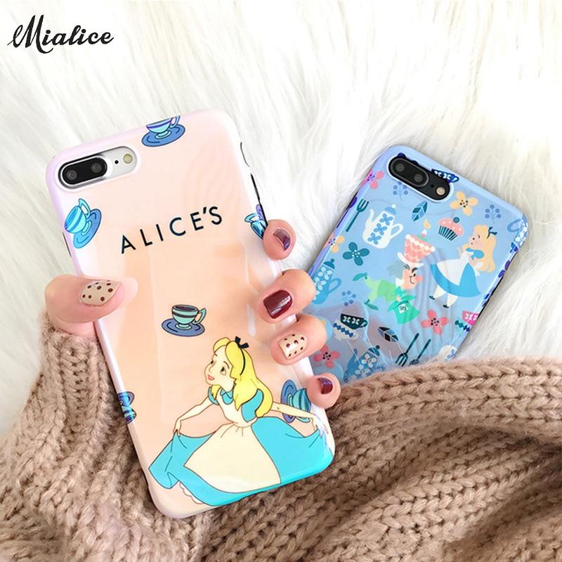 Cute Cartoon Alice in Wonderland Blue ray phone case For iphone X 7 7Plus 8 8plus Cartoon Soft TPU case for iphone 6 6s 6plus