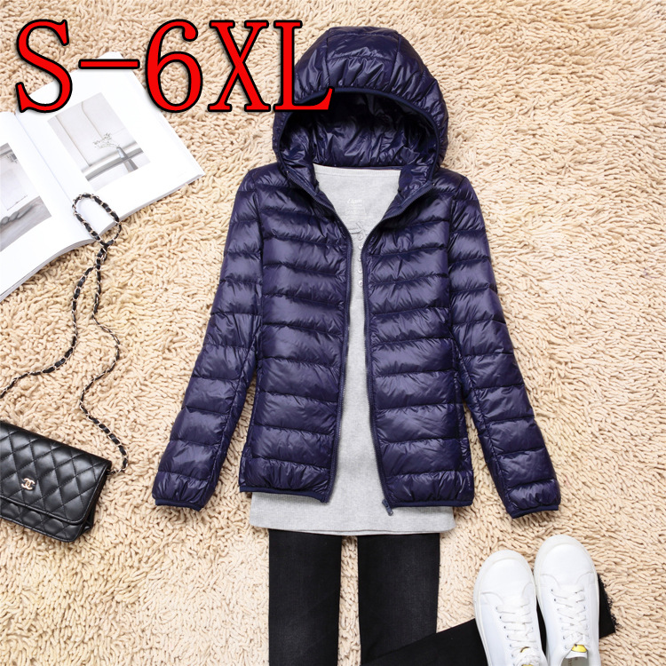2018 Women Keep Warm Ultra Light Down Jacket Women Super Light Thin 90% White Duck Down Jacket/femininity With Hood Plus Size