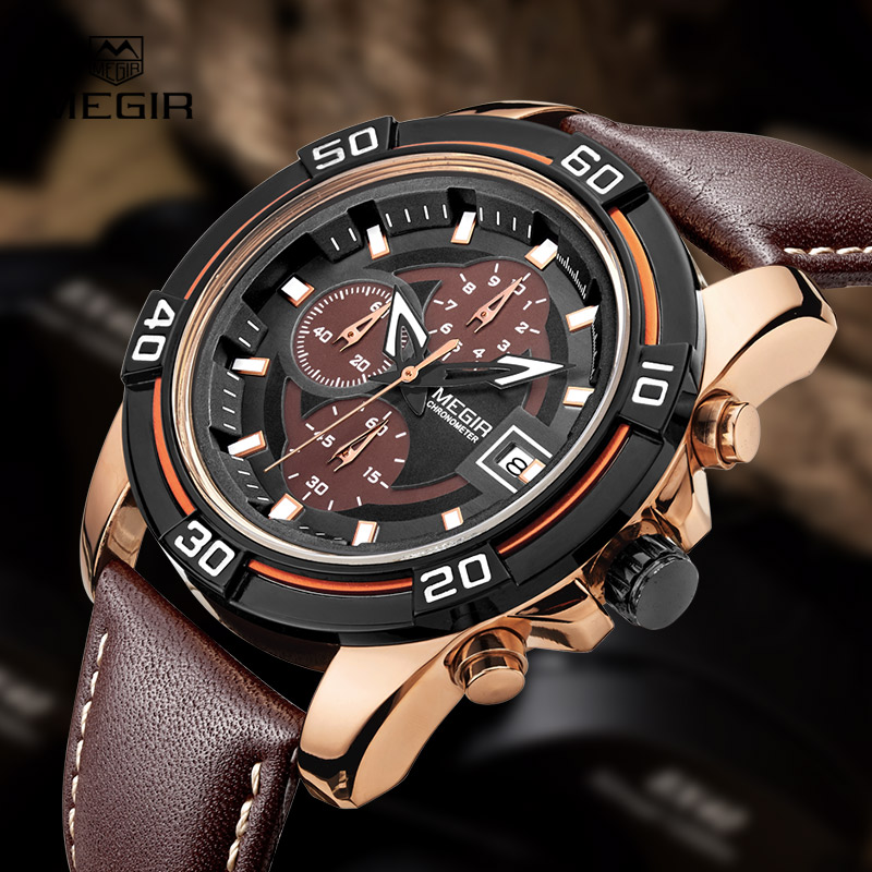 Top Brand MEGIR Fashion Business Quartz Watch Men Auto Date Sport Chronograph Wrist watches Leather Strap Man Relojes Hombre 2017 fashion men watches top brand luxury function date leather sport watch male business quartz wrist watch reloj hombre