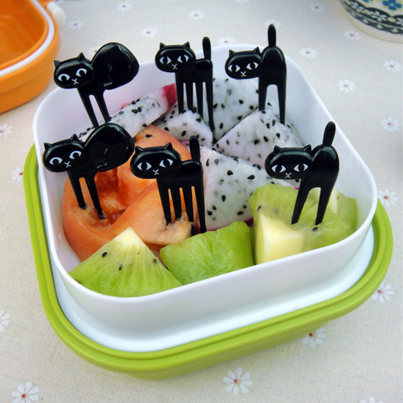 FHEAL New 6Pcs Mini Animal Fork Fruit Picks Cute Cartoon Black Cat Children Fork Toothpick Bento Lunch Box Decor Accessories  (3)
