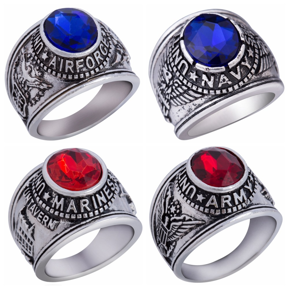 Size 7-15 United States Army Navy Airforce Marines Venteran Military <font><b>Ring</b></font> Retro Vintage <font><b>USMC</b></font> Memorial War Battle Blue Red Stone image