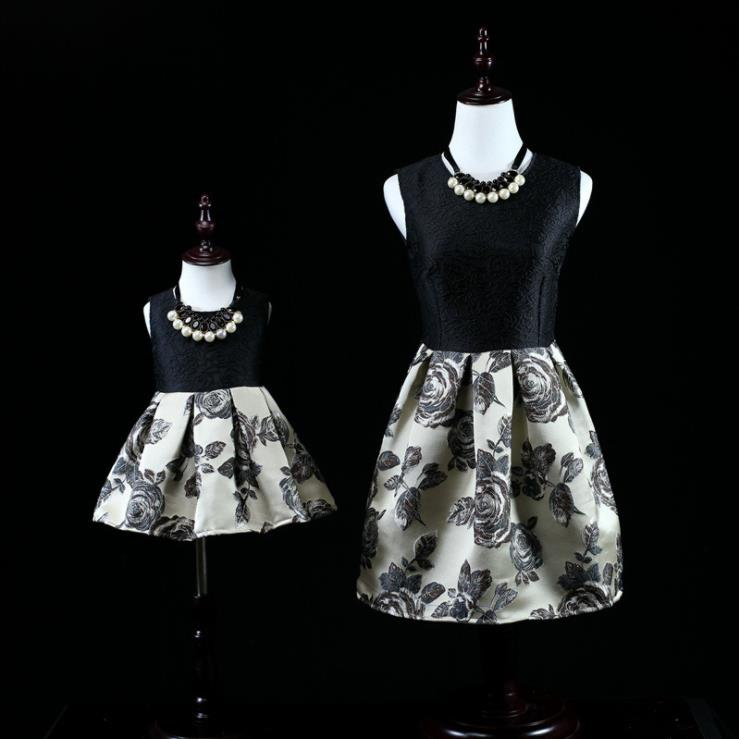 Europe and the United States 2018 autumn The new Parent-child outfit Jacquard print mother-daughter dress the good mother