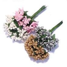 CCINEE 12 шт./лот вечерние Искусственные цветы тутового цвета тычинки и листья Свадебные украшения